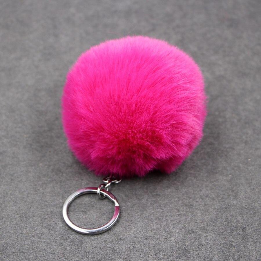 UK/_ LK/_ Rhinestone Pendant Key Chain Charm Gift Faux Fur Ball Keyring Ring Pom P