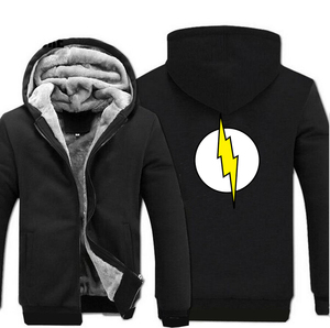 Image 2 - The Big Bang Theory Sheldon The Flash Hoodies Men 2019 Winter Warm High Quality Sweatshirts Thicken Mens Coat Plus Size Jacket