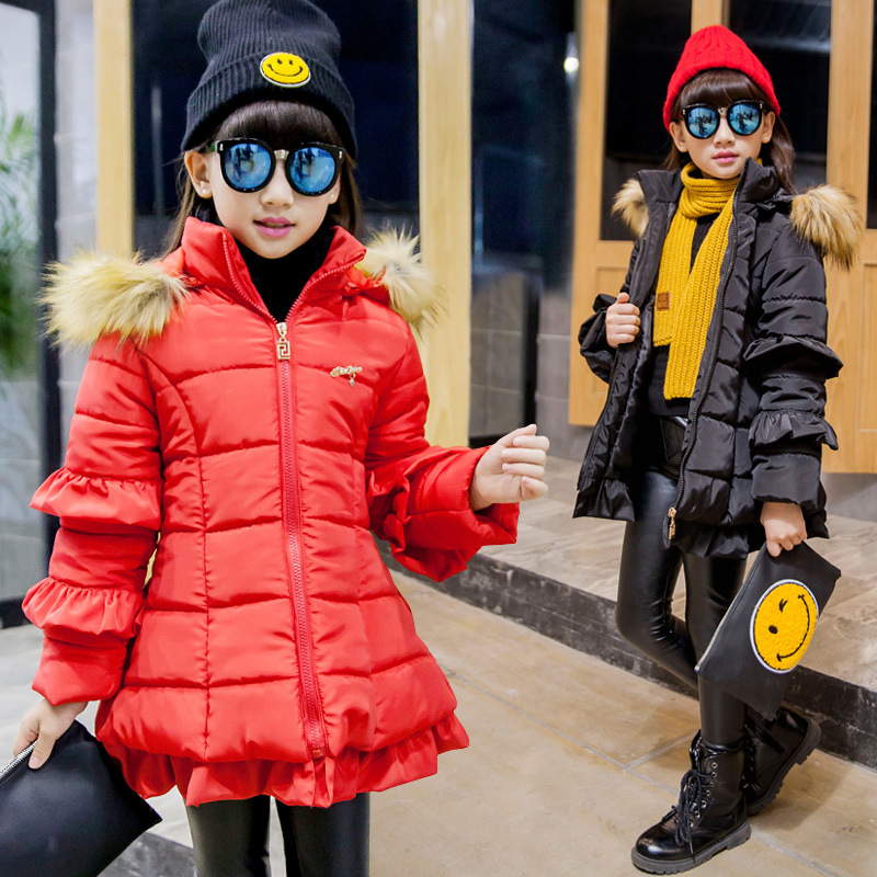 Winter Coat Korean Childrens New Girl Child Long Sleeve Lace Thick Fur Collar Cotton Girls Down CoatWinter Coat Korean Childrens New Girl Child Long Sleeve Lace Thick Fur Collar Cotton Girls Down Coat