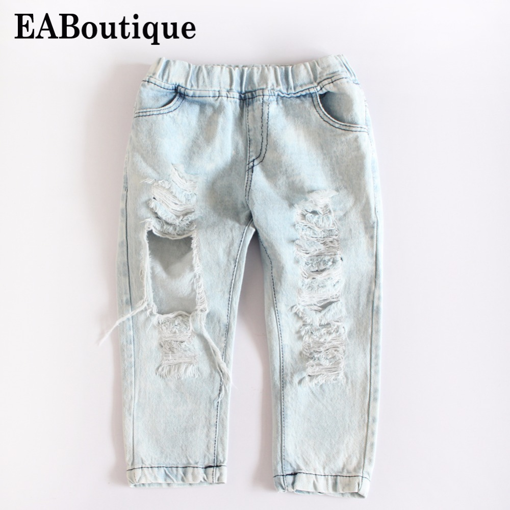 EABoutique 2018 New Street Fashion Rock Star Kids summer big holes jeans for girls jeans 2-6 years old