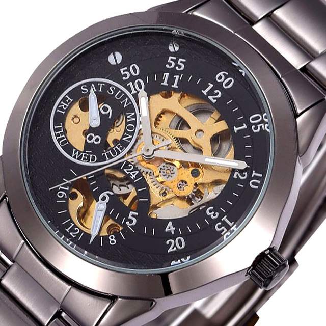 SHENHUA Brand Men Mechanical Watch Classic Skeleton Automatic Mechanical Watches Full Steel Band Male Clock Wristwatch Relogio
