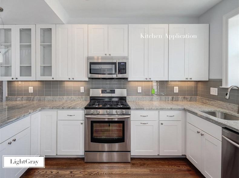 Verzending gratis grijs metro glas tegels sink keuken backsplash
