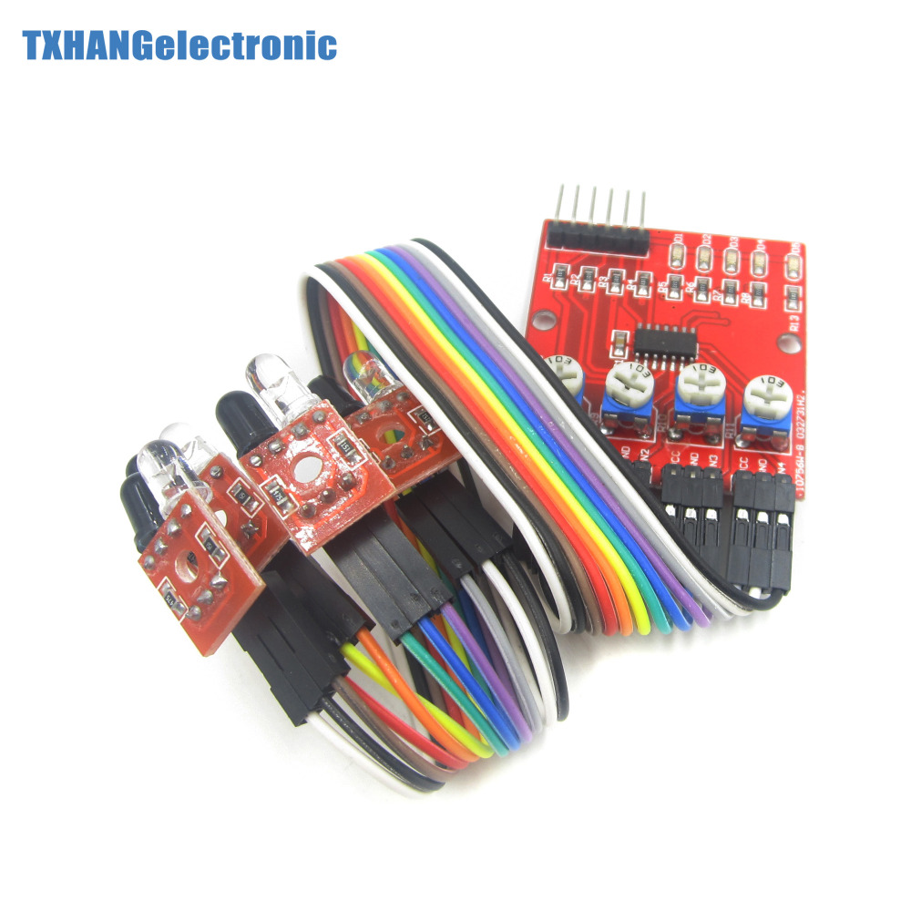 Four Way 4 Channel Infrared Detector Tracking Line Obstacle 50 Prototype Pcb Circuit Panel Solder Diy 50x70 Board Tracing Transmission Avoidance Sensor Module For Arduino Robot
