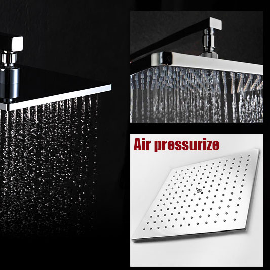 High quality brass material square 10 inch air pressurize chrome plated shower head bathroom rain shower fixture диски helo he844 chrome plated r20