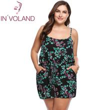 IN VOLAND Plus Size Women Rompers Summer Beach Loose Playsuits Floral Print Spaghetti Strap Sleeveless oversized