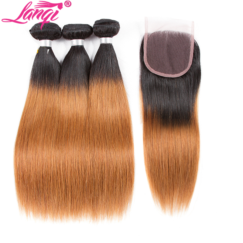 Brazilian Straight Remy Human Hair Weave 2 3 Bundles With Closure 26 28 Inch Bundles 1B/30 Blonde Ombre Bundles With Closure