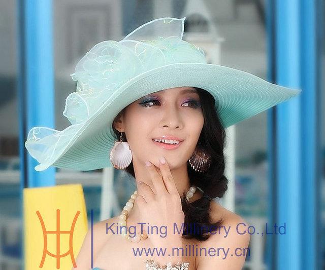 Envío de la Nueva Llegada de Las Mujeres Sombrero de La Iglesia Vestido de Las Mujeres Elegantes sombrero de Moda de Verano Al Aire Libre Anti-Ultravioleta Del Sol Sombrero Grande Del Sol de la Playa sombrero