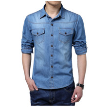 Men Shirt 2017 New Fashion Casual jeans Shirt Long Sleeve male Size S-5XL LEFT ROM Cotton The cowboy blue clothing Hot sale Top