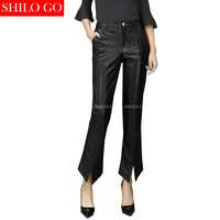 SHILO GO New Fashion Street Women's Empire Pants Leather sheepskin Genuine Slip Flare Pants New Ladies Formal Pants Good Quality