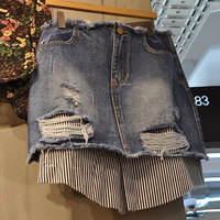 Saia Longa Promotion Patchwork Hole Leather Skirt 2018 New Skirt Stripe Stitching Short Fashion Personality A Word Half Female