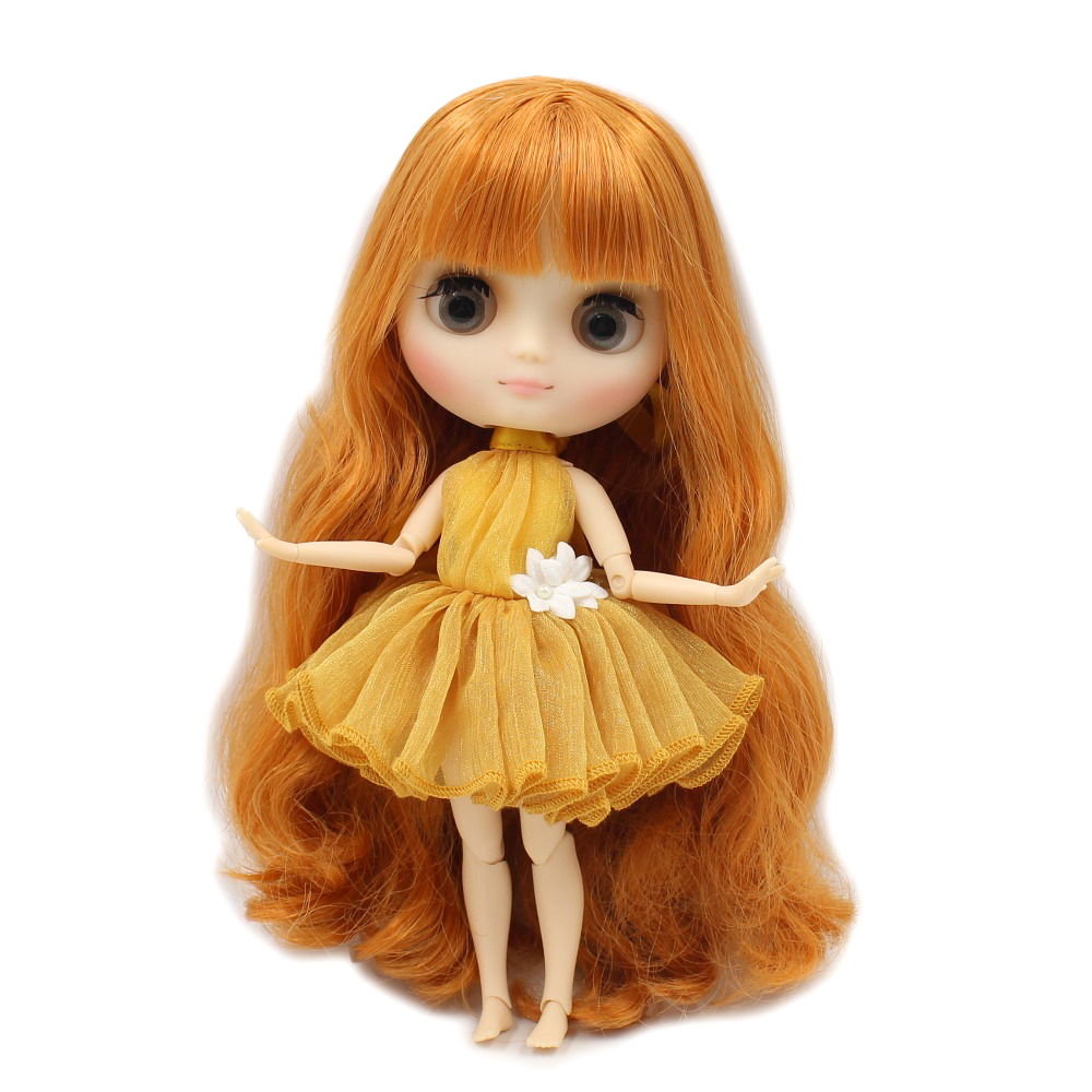 Free shipping blyth middie doll 1 8 20cm matte frosted face joint body orange hair with
