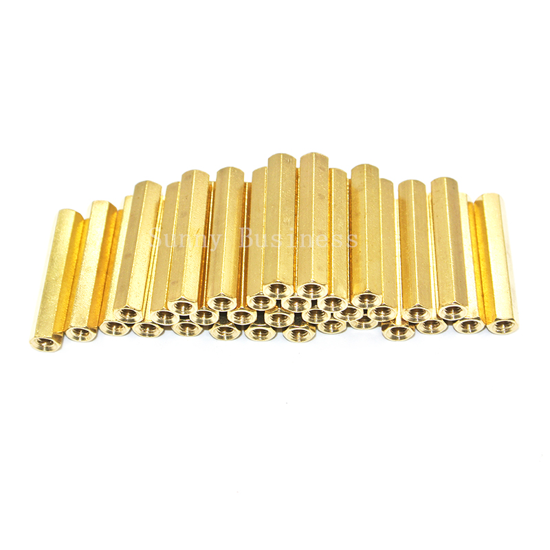 50pcs/lot M3*L (4mm~50mm) Brass Standoff Spacer Female Female M3*L Brass Threaded Spacer hex spacer/BSSFFNNP M3