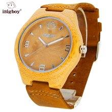 IBigboy Bambú De Madera Reloj de Pulsera Correa de Cuero Reloj de Cuarzo Mujeres de Los Hombres Relojes de Marca Para Hombre Relogio masculino Natural 2016