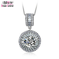 DreamCarnival 1989 Classic Small Round Charm Collares For Women Top Quality Big Stone Cubic Zirconia Kolye