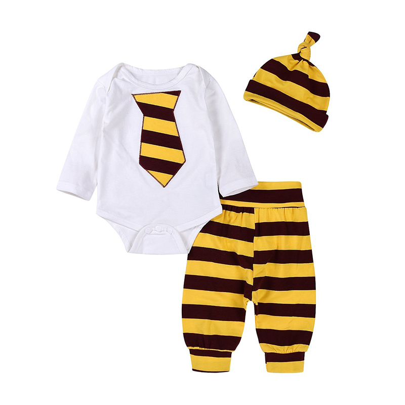 Newborn Baby Boys Gentleman Necktie Long Sleeve Romper Bow Tie Bodysuit and Striped Pants Outfit With Hat ship from USA