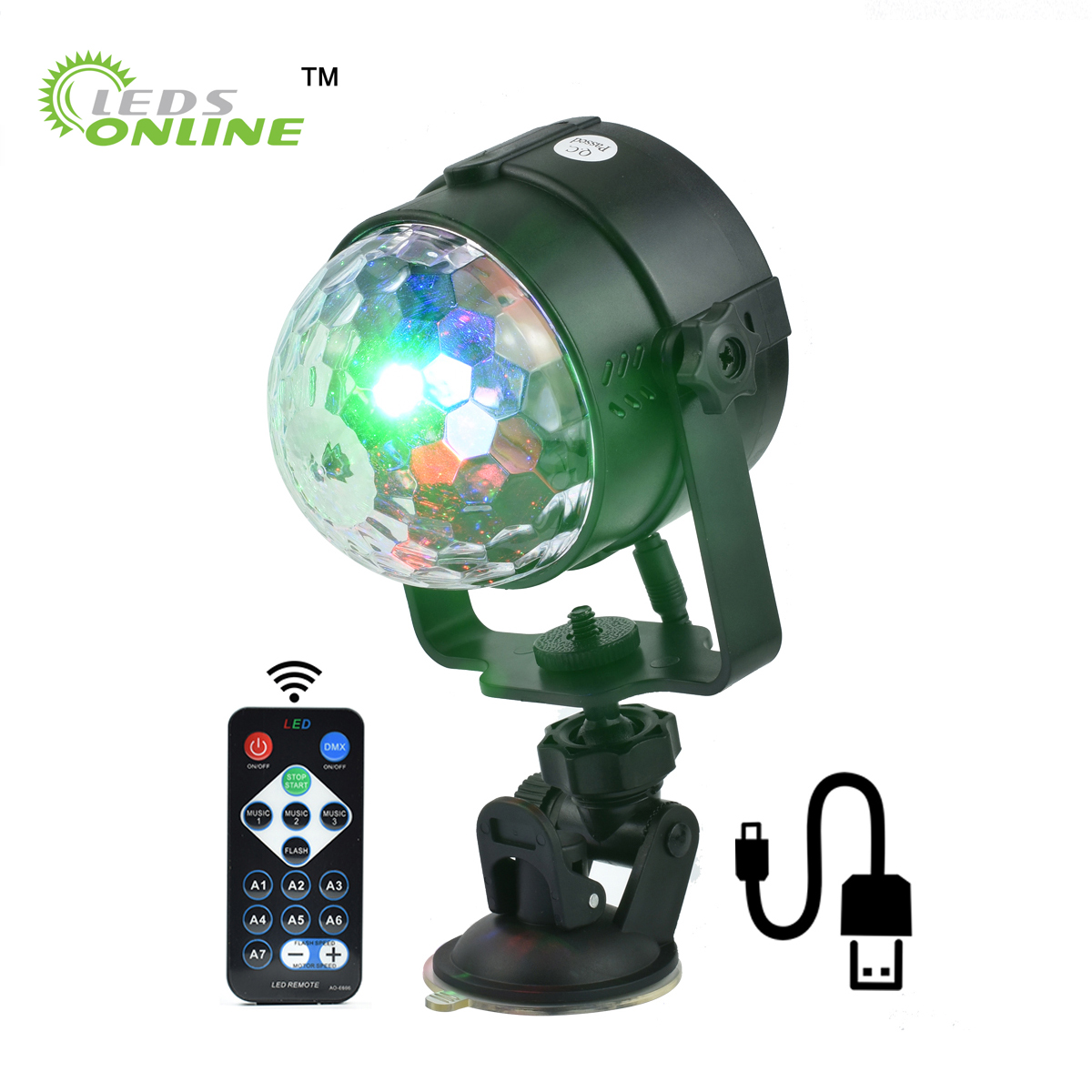 5V USB Stage Effect Light IR Remote RGB LED Crystal Magic Rotating Ball Lights Colorful For Party KTV DJ Disco Car Home Club