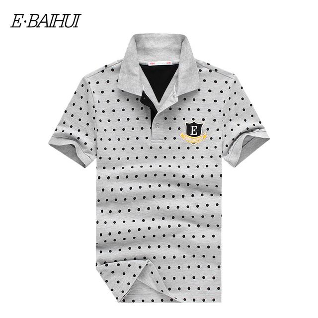 E-BAIHUI Tenis dos homens do estilo da marca de verão Dos Homens cobre t Mancha Poloshirt camisas Pólo de Algodão Dos Homens Camisa Polo roupas Masculinas Sólida P010