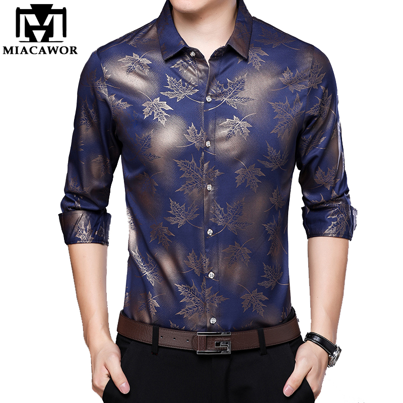 MIACAWOR Original Men Shirt Fashion Print Dress Shirt Slim Fit Camisa Masculina Full Sleeve Casual Men Shirt C413 1