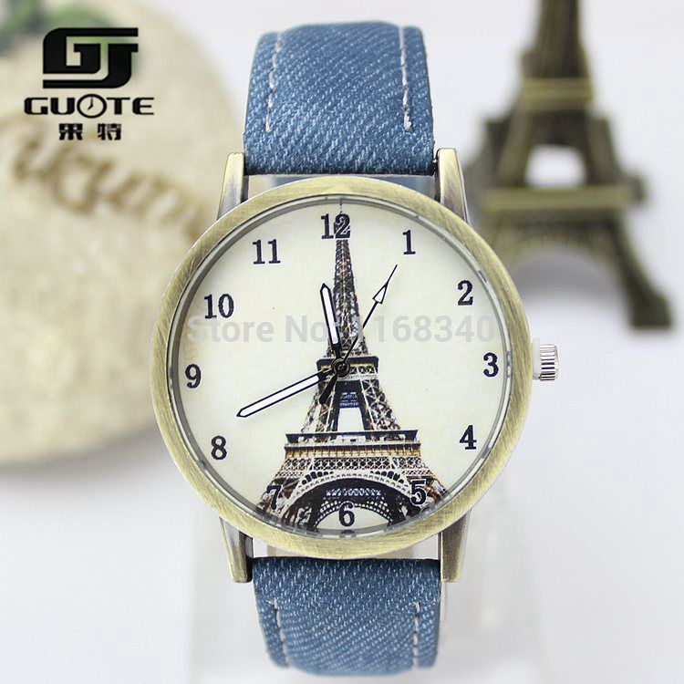 2015 Fashion Women Eiffel Tower Fabric Leather Quartz Watch Women Casual Wristwatch Ladies Dress Watch Relogio Feminino Clock