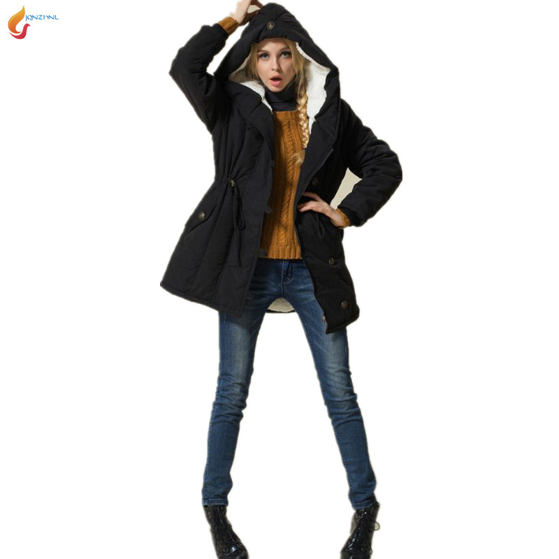 2016 New Fashion Fall Winter Women Loose Leisure Hooded Thicken Keep warm Big yards Medium long Cotton-padded jacket Coat G1158