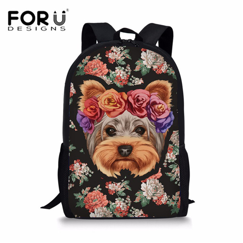 FORUDESIGNS Cute Floral Yorkie Printing School Bags Backpack for Girls Kawaii Shoulder Bag Kids Schoolbag Large Book Bag Satchel forudesigns cute cartoon winx club girls school bags small children book bag for kindergarten women shoulder bag kids mochila