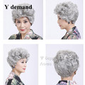 African American Ahort Curly Wigs For Old Women Blonde Brown White Gray Ombre Hair With Bangs Peruca