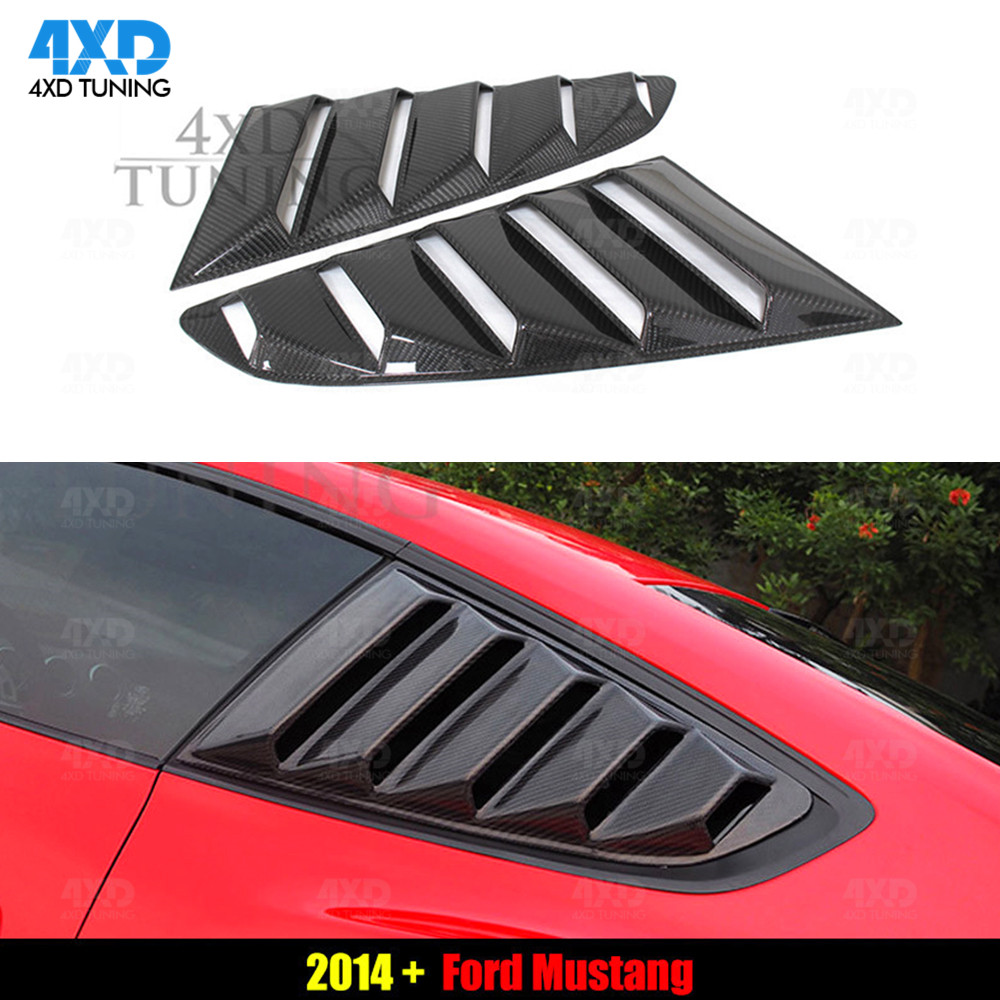 Karbon yan arka pencere panjur Scoop kapak Ford Mustang için sol sağ GT350R stil arka pencere panjur 2015 2016