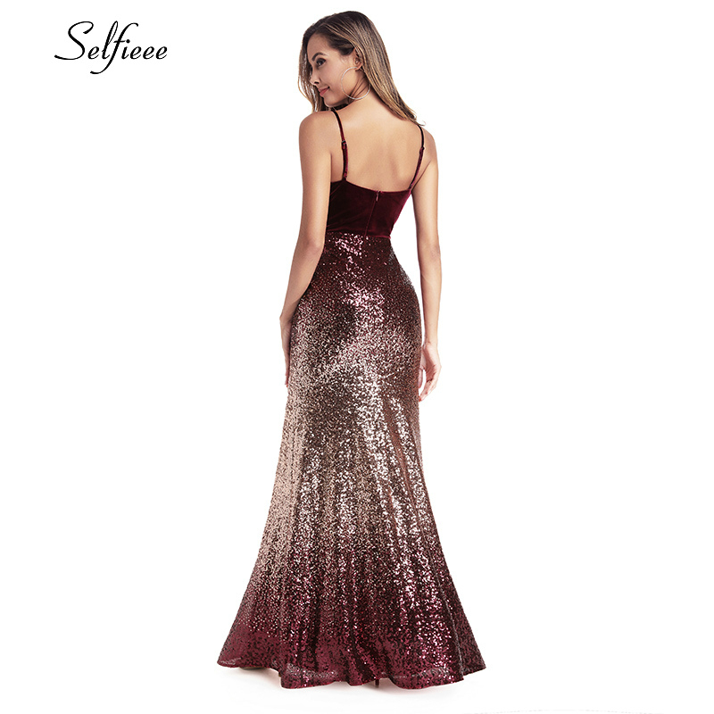 Sequined Burgundy Women Dresses Spaghetti Straps V-Neck Elegant Sparkle Maxi Dresses Woman Party Night Dresses Robe Femme 2020 1