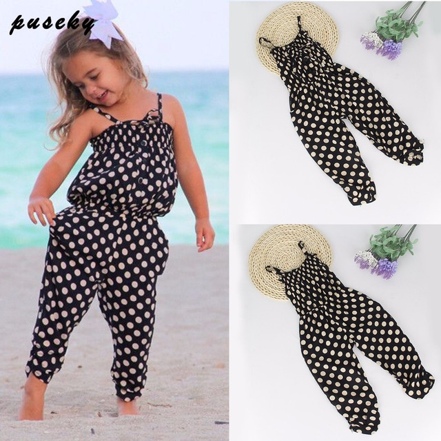 Toddler Girl Clothing 2017 Baby Girls Straps Rompers Jumpsuits Pants