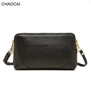 Image 1 - Moda donna borsa a tracolla borsa del cuoio genuino doppio disegno della chiusura lampo della pelle bovina tote di crossbody bag colori