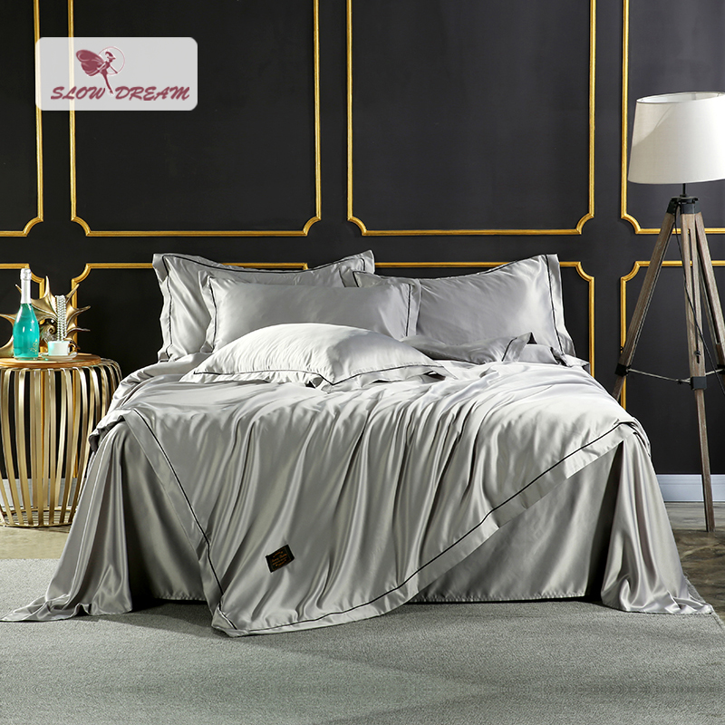 SlowDream Bedding Set Luxury Comforter Silk Duvet Cover Satin Bedspread Linen Underwear Double Bed Sheet Queen King Bedclothes