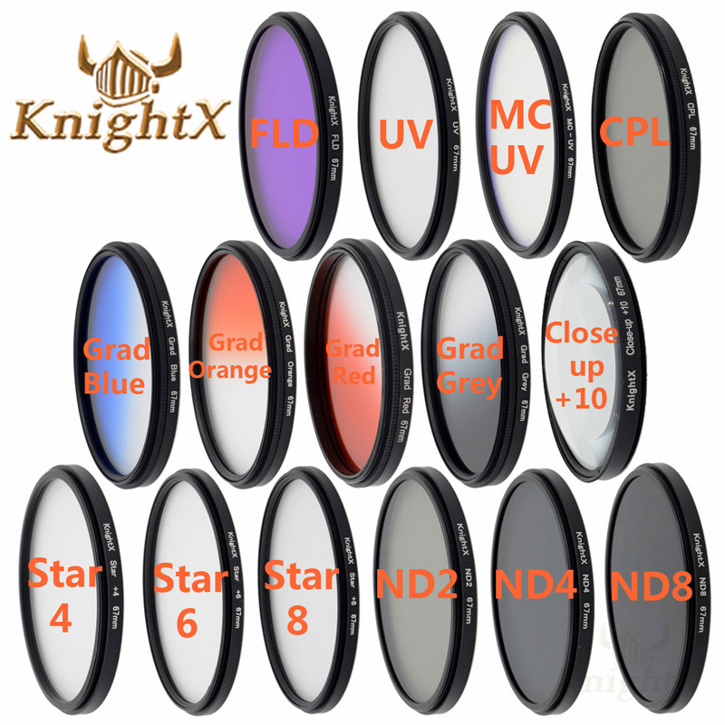 KnightX 52mm 55mm 58mm 67mm 77MM FLD UV CPL MC Star nd lens color filter for Sony Nikon Canon 700D d3300 Camera DSLR d5200 d5300