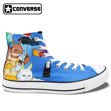 Anime Converse All Star Women Men Shoes Miyazaki Hayao Mangas Totoro Princess Mononoke Design Hand Painted High Top Sneakers