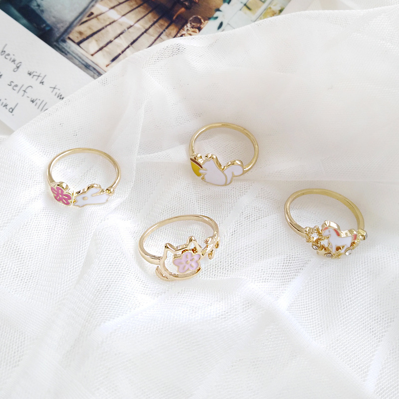 Forest Series Fashion Cartoon Little Animals Horse Rings for Girls Planet Miss Squirrel Flowers Wedding Bands