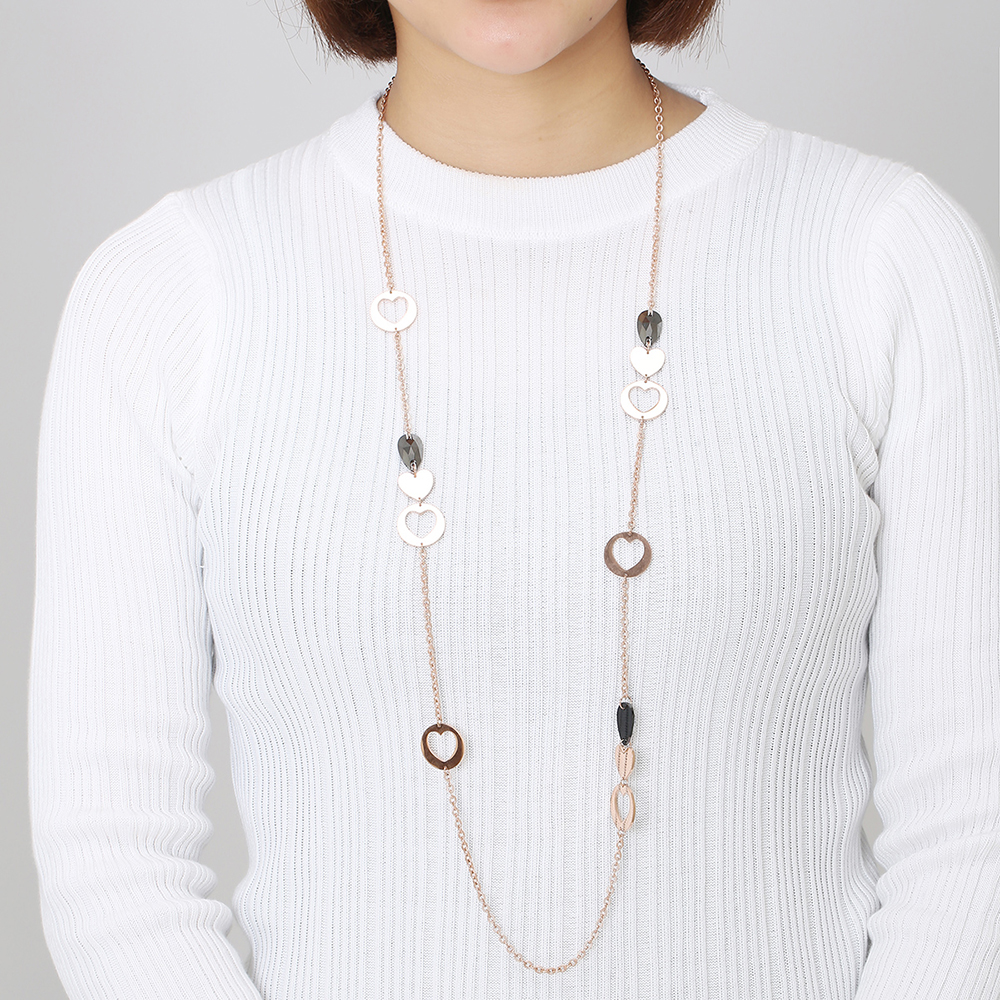 Women Elegant Jewellery Long Necklace Stainless Steel Brilliant Fashion Gold Heart Charm Glass Beads Sweater Chain Gift For Wife