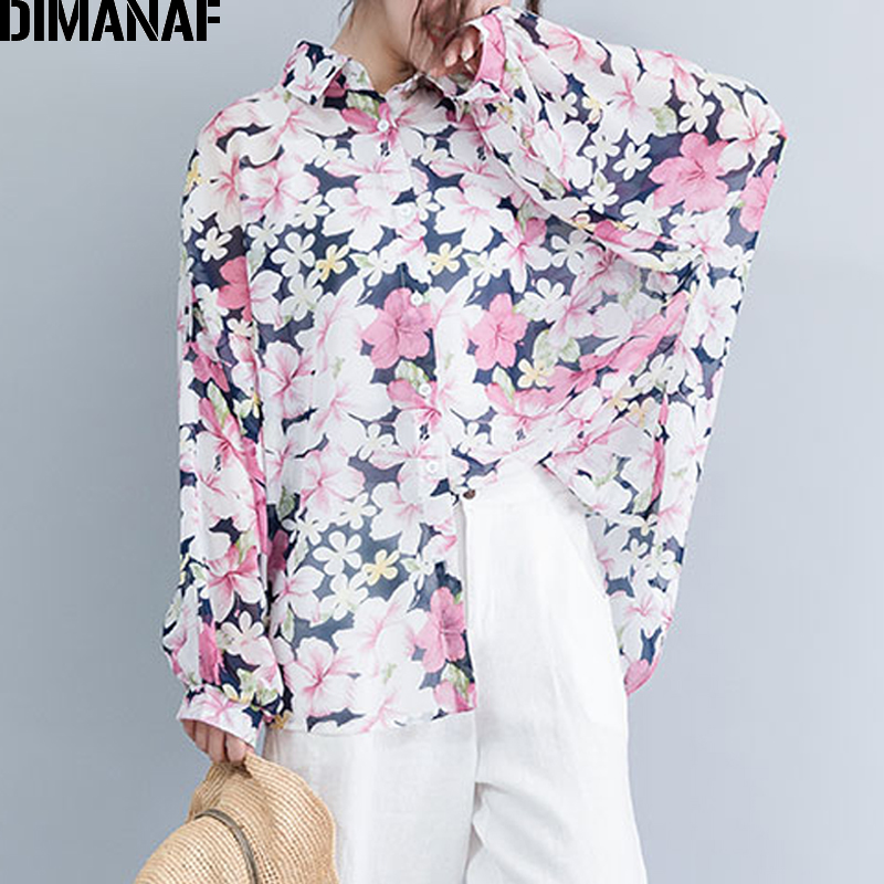 DIMANAF Plus Size Women Blouse Shirts Chiffon Lady Tops Tunic Big Size Loose Casual Female Clothes Long Sleeve Print Floral 2019