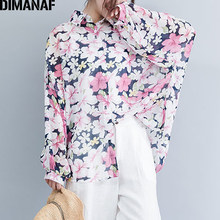 DIMANAF Plus Size Women Blouse Shirts Chiffon Lady Tops Tunic Big Size Loose Casual Female Clothes Long Sleeve Print Floral 2019(China)