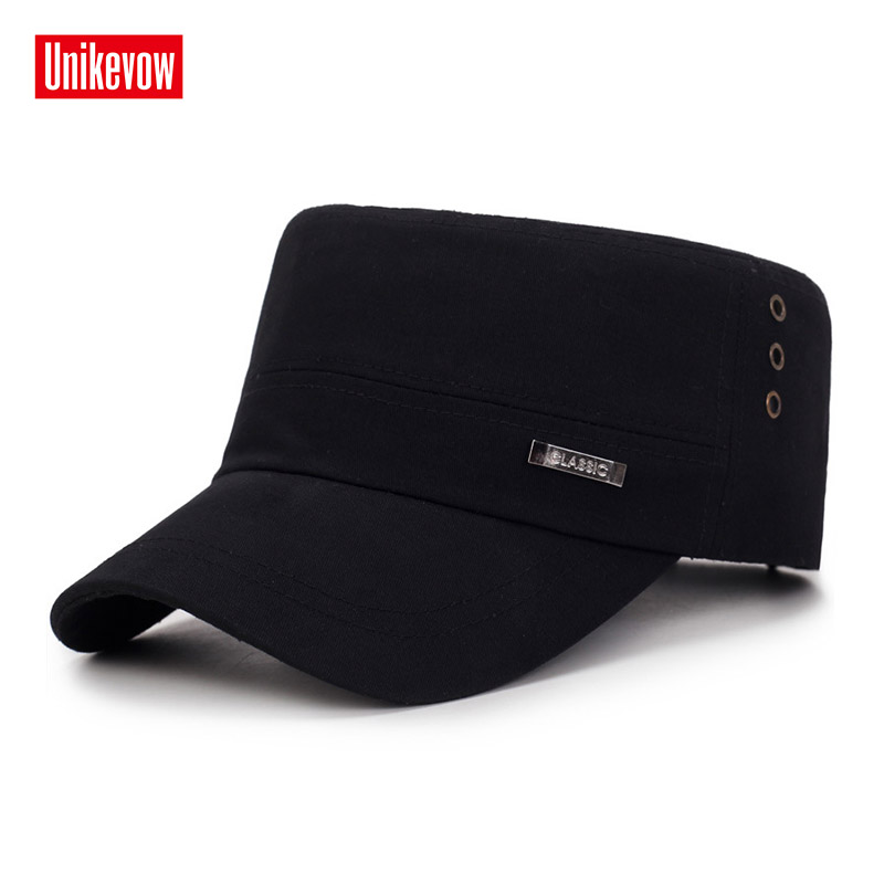 UNIKEVOW Solid classic military cap Breathable flat top Hat for men Vintage Army Cadet Military Patrol Cap