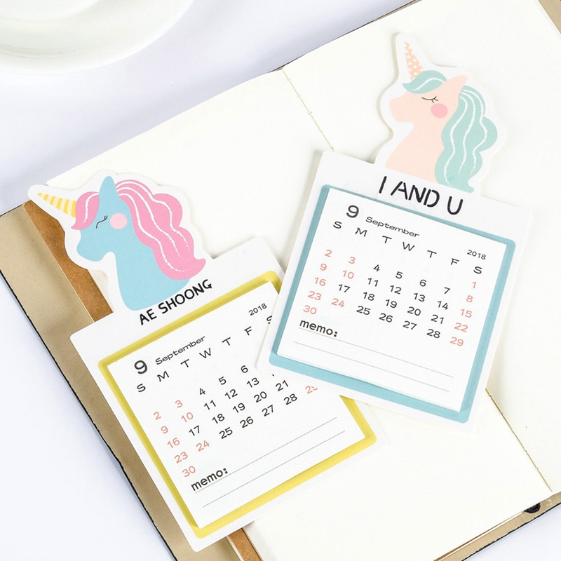 1 Pc 2019 Anno Di Calendario Da Parete Fai Da Te Animali Unicorn Mini Magnetica Quotidiano Scheduler Planner Agenda Cancelleria Calendario Da Parete Adesivi