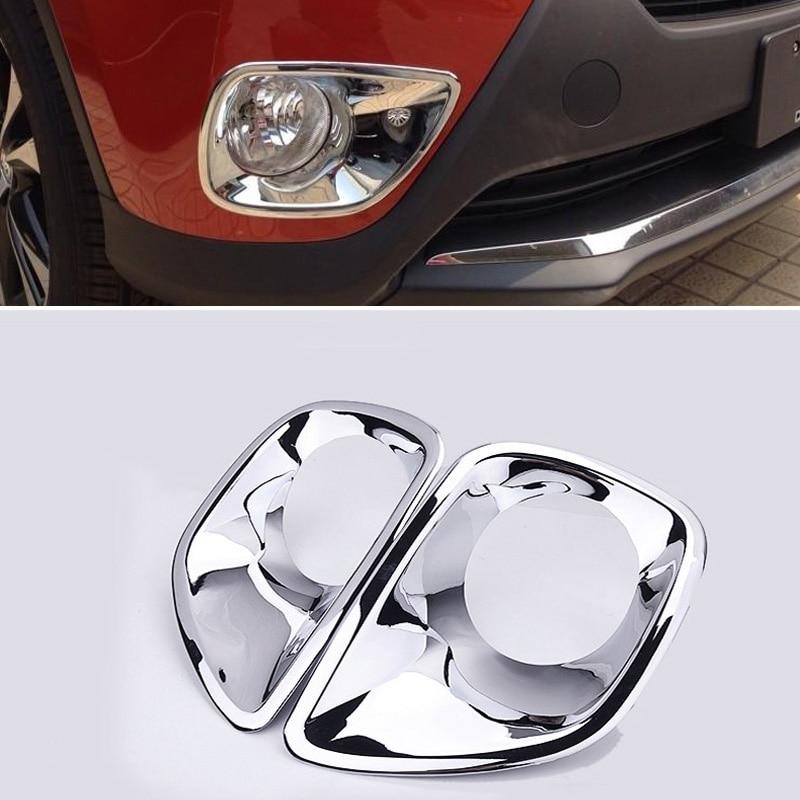 Accessories Chrome Front Rear Fog Light Covers For Toyota RAV4 2013 2014 2015