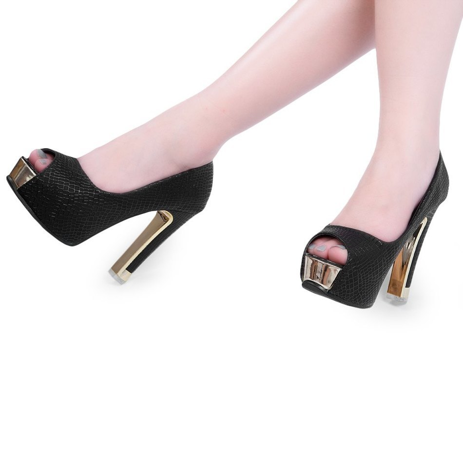 2017 Nice Modern Sexy Women Pumps Spring Summer Open Peep Toe Thick High Heels Shallow Mouth