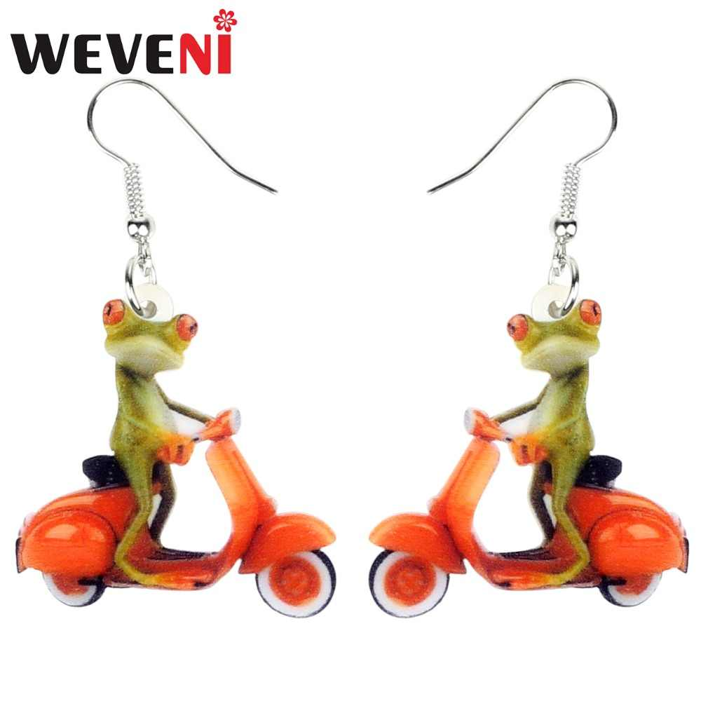 WEVENI Acrylic Fashion Electromobile Frog Earrings Drop Dangle Novelty Animal Jewelry For Women Girls Teens Kid Gift Accessories