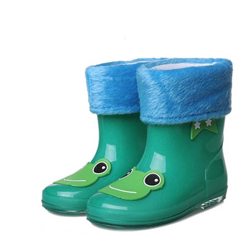 Брендовые Нескользящие вельветовые сапоги из хлопка для девочек; новые модные дизайнерские детские резиновые сапоги с героями мультфильмов; теплые резиновые ботинки для мальчиков; сезон осень-зима