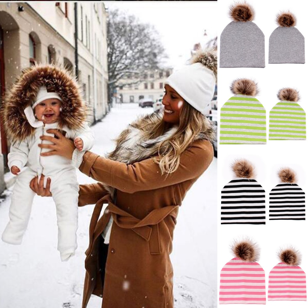 8a1a35a916f Puseky 2Pc Set Winter Warm Double-Layer Cotton Striped Cap Fur Pompom Ball  Beanies Cap Mom Baby Boys Girls Family Matching Hats