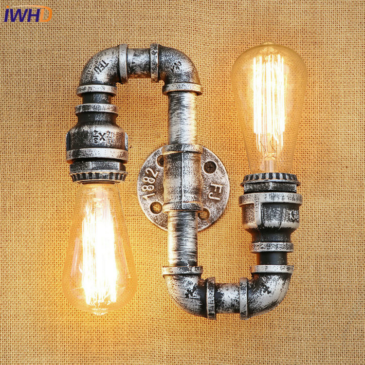 IWHD Iron Water Pip Loft LED Wall Lamp Industrial Vintage Wall Lights E27*2 Simple Retro RH Wall Sconses Fixtures Home Lighting iwhd loft vintage led wall lamp glass lampshade retro industrial wall lights bedside light fixtures for home lighting luminaire