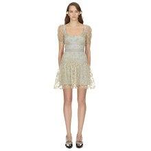 2018 Nieuwe zomer jurk vrouw runway designer backless sexy elegante mini  korte jurk Champagne borduren mesh vestidos bodycon 433ddfd77c95
