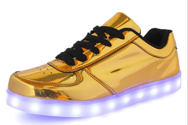 2016 Hot 7 colors Fashion Casual Unisex Shining Shoes With LED Laser Leather Surface Gold Silver USB Light Up Shoes For Adults