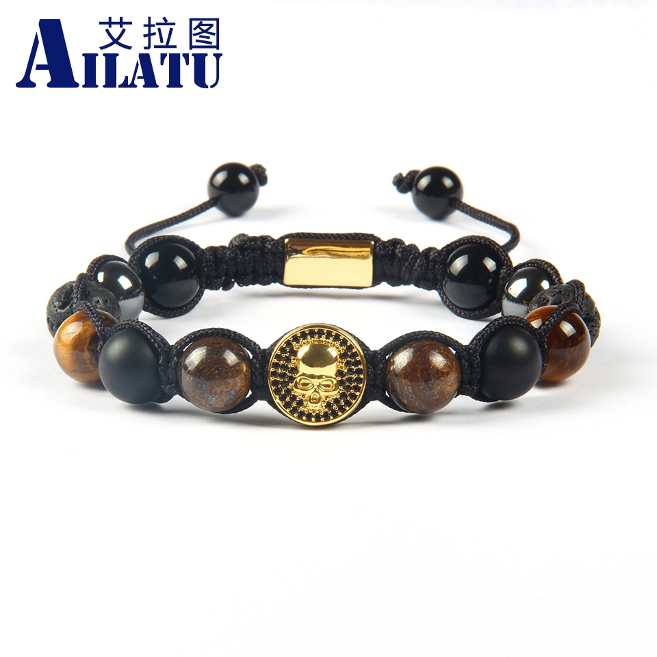 Ailatu Powerful Jewelry Wholesale 10mm Lava Bronzite Tiger Eye Stone beads with Black Cz Round New