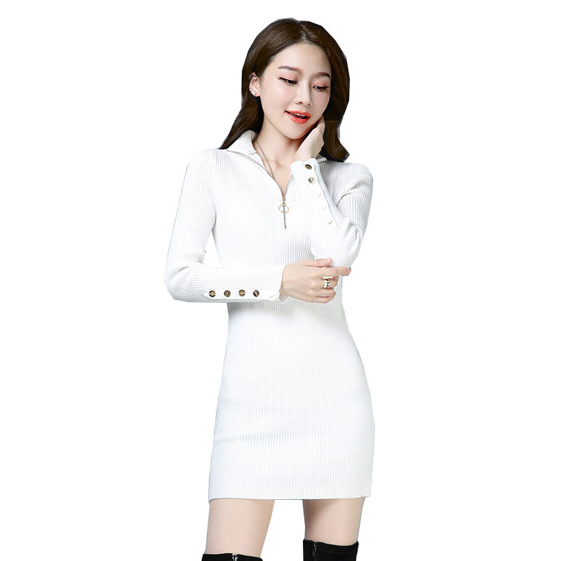 Spring and Autumn new Slim was thin tight fitting long sleeved sweater and long sections women bottoming knit bandage dress