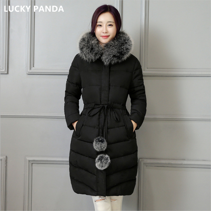 Lucky Panda 2016 fashion Winter Women padded Jacket Slim long Down cotton Wadded Coat Women Hoodies Parkas Plus Size LKP307 lucky panda 2016 the new winter coat and female slim in the long and small lattice fragrant cotton lkp243